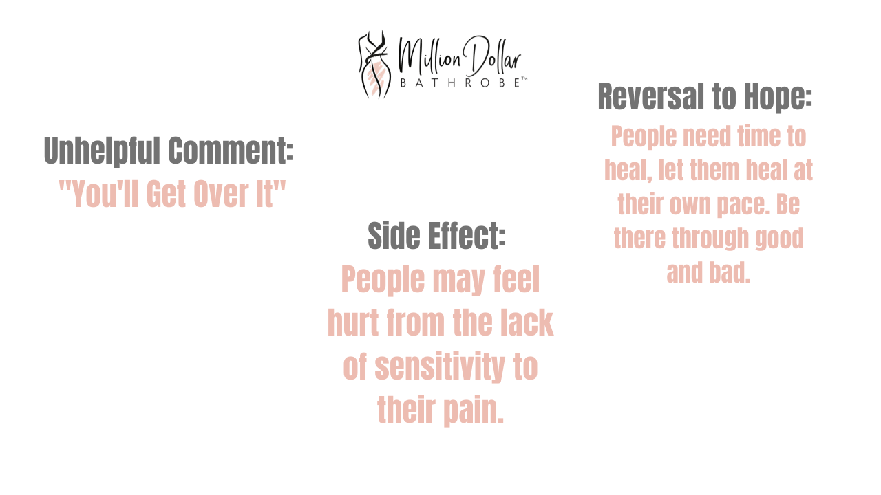 Bad Effect of Positivity 1: You'll Get Over It Side Effect: People may feel hurt from the lack of sensitivity to pain. Reversal to Hope: People need time to heal, let them heal at their own pace.